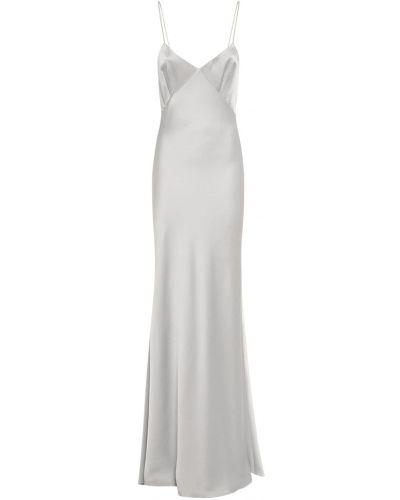 Серое платье макси с вырезом из крепа Max Mara