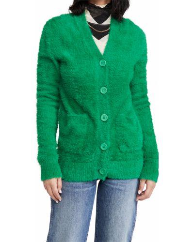 Zielony kardigan z nylonu z długimi rękawami Simon Miller