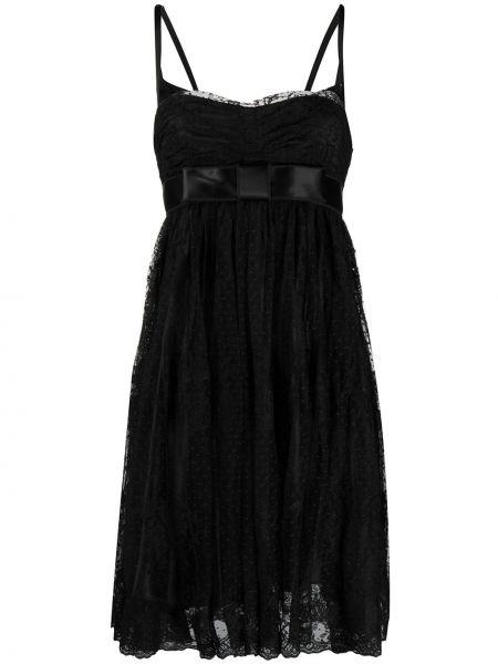 Черное ажурное платье оверсайз из вискозы Dolce & Gabbana Pre-owned