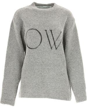 Szary sweter bawełniany z długimi rękawami Off-white C/o Virgil Abloh