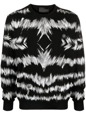 Prążkowany pulower z długimi rękawami bawełniany Philipp Plein