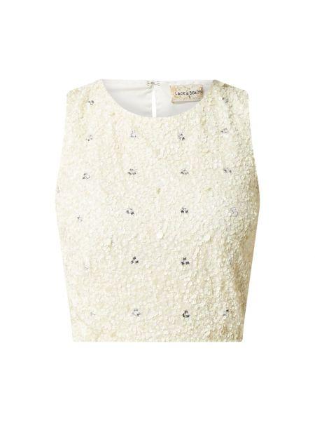 Biały ażurowy top z cekinami na sznurowadłach Lace & Beads