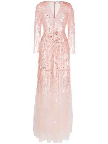 Розовое платье макси с V-образным вырезом на молнии с аппликациями Elisabetta Franchi