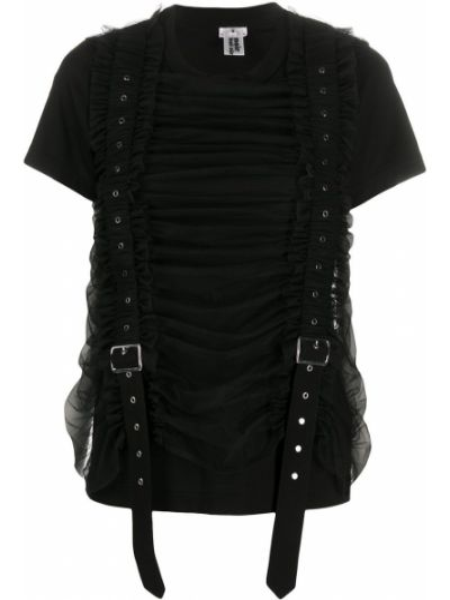 Нейлоновая черная футболка с круглым вырезом круглая Comme Des Garçons Noir Kei Ninomiya