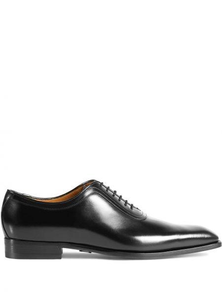 Черные оксфорды на каблуке на шнуровке Gucci