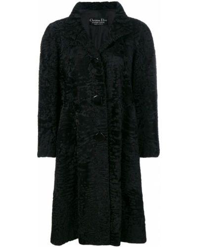 Черное пальто классическое с капюшоном с воротником Christian Dior Pre-owned