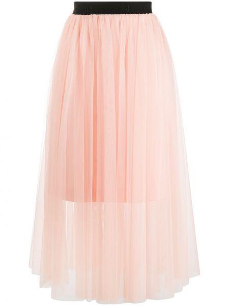 Розовая с завышенной талией юбка миди из фатина Boss Hugo Boss