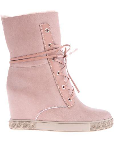 Кожаные ботинки на овчине теплые Casadei