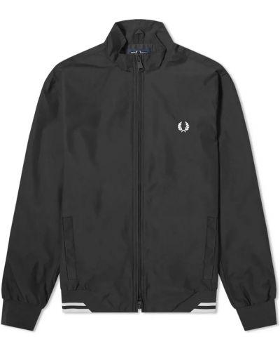 Czarna kurtka sportowa z haftem z nylonu Fred Perry
