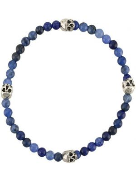 Bransoletka łańcuch srebrna - niebieska Northskull