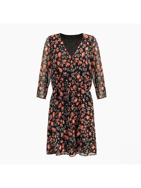 Платье с поясом с запахом с цветочным принтом La Redoute