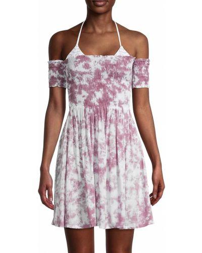Белое платье мини с короткими рукавами с декольте Tiare Hawaii