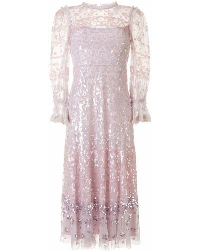 Фиолетовое платье из фатина с пайетками на молнии Needle & Thread