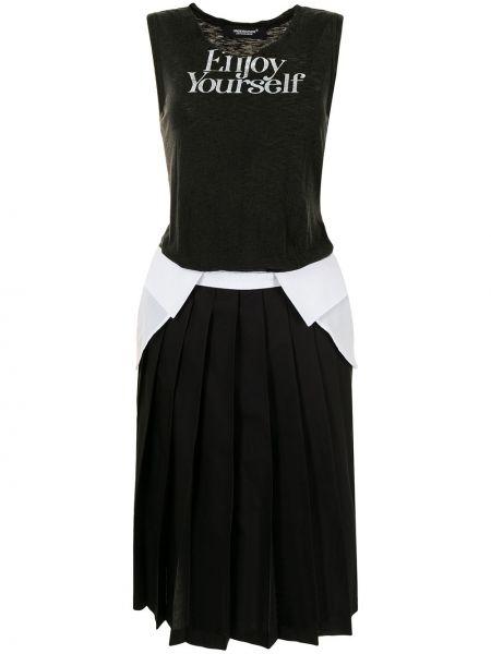 Хлопковое черное платье без рукавов Undercover