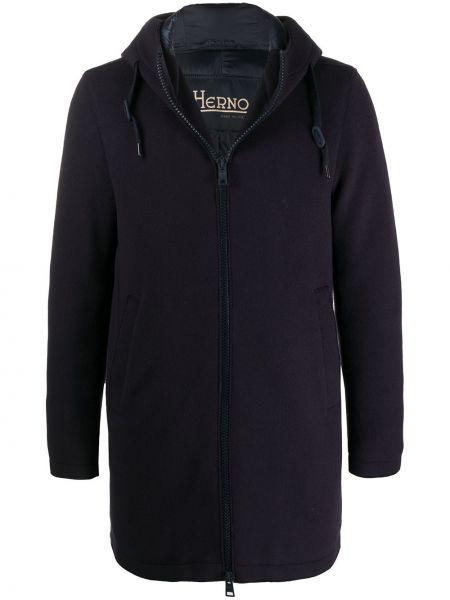 Niebieski prosto wełniany długi płaszcz z długimi rękawami Herno