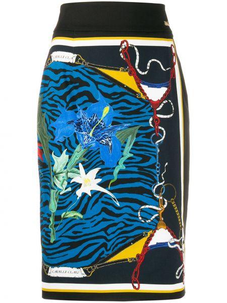 Черная приталенная прямая юбка миди с разрезом Cavalli Class