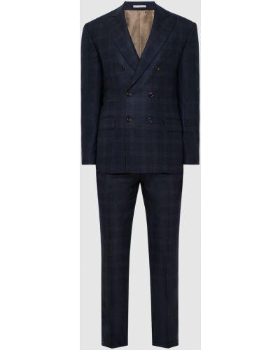 Костюмный шерстяной синий костюм Brunello Cucinelli