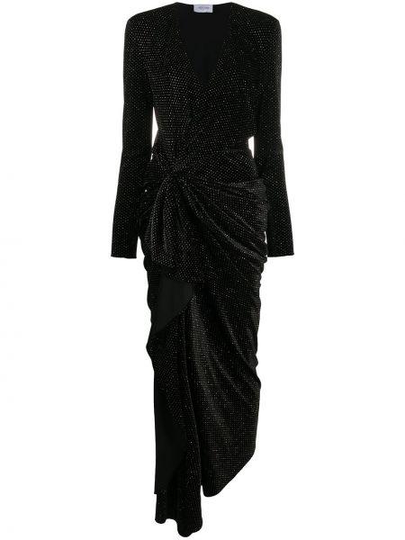 Черное облегающее платье с запахом с V-образным вырезом из вискозы Redemption