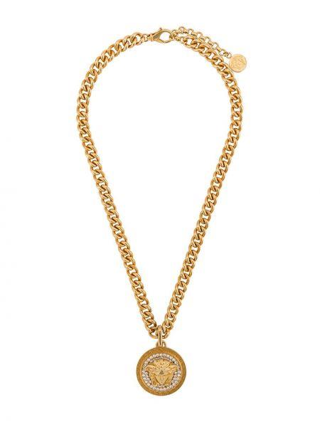 Желтое ожерелье металлическое с подвесками Versace