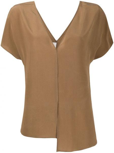 Bluzka z krótkim rękawem asymetryczny jedwabna Alysi