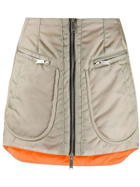 Плиссированная нейлоновая юбка мини на молнии с карманами Marcelo Burlon. County Of Milan