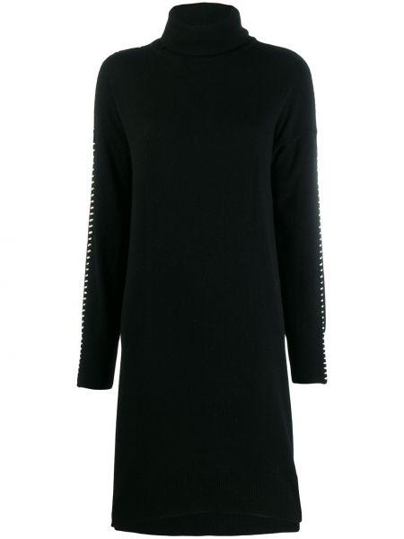 Свободное черное платье свободного кроя из вискозы 8pm