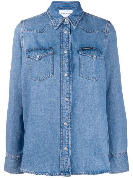 Niebieska koszula jeansowa bawełniana z długimi rękawami Calvin Klein Jeans