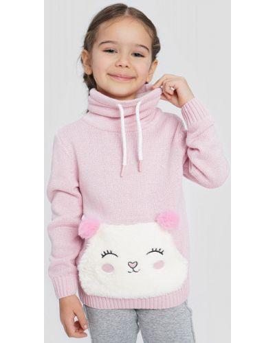 Розовый длинный свитер с воротником с вышивкой Ostin