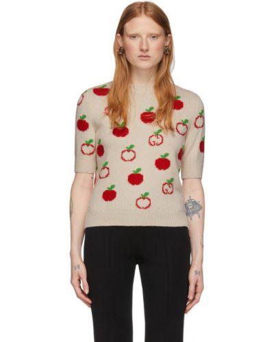 Wełniany biały sweter z kołnierzem z mankietami Gucci