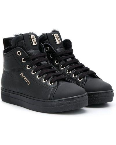 Черные кеды на шнурках с заплатками Cesare Paciotti Kids
