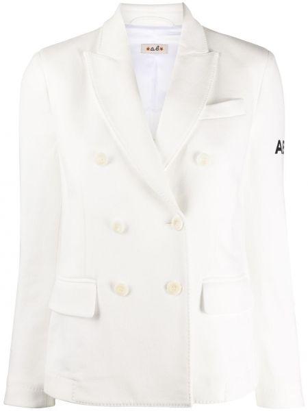 Белый пиджак двубортный с карманами Alberto Biani
