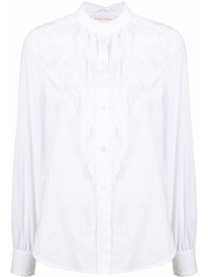 Белая рубашка с высоким воротником с вышивкой See By Chloé