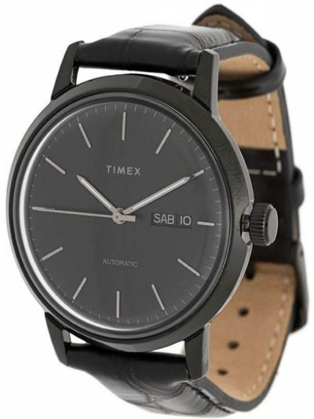 Zegarek na skórzanym pasku skórzany - czarny Timex