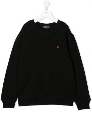 Bawełna z rękawami czarny koszulka polo z haftem Polo Ralph Lauren