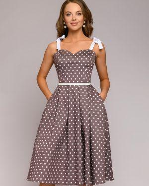 Сарафан с вырезом на бретелях на молнии со складками 1001 Dress