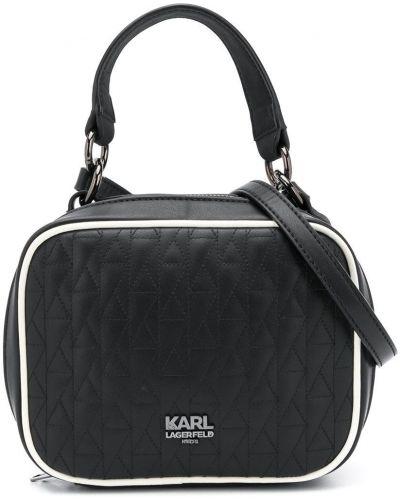 Стеганая черная сумка-тоут на молнии Karl Lagerfeld Kids