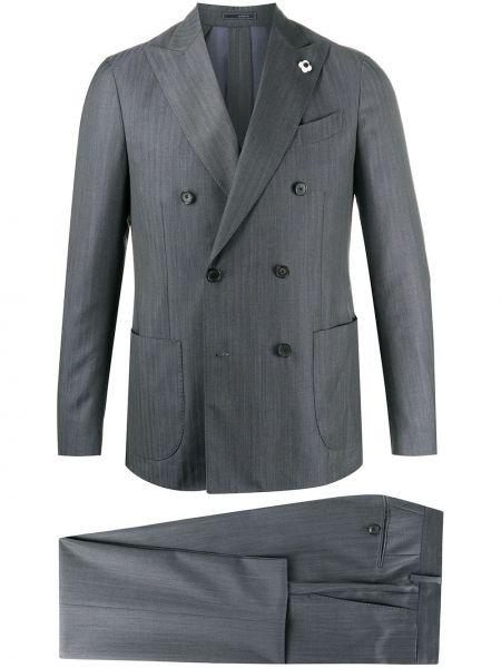 Костюмный шерстяной бежевый брючный костюм Lardini