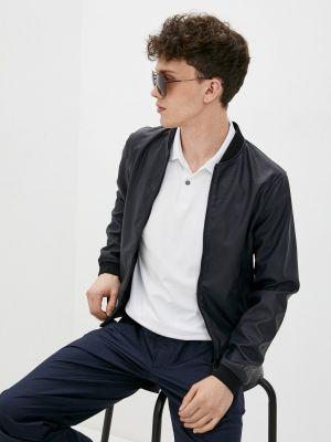 Кожаная куртка - синяя Armani Jeans