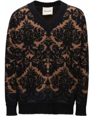 Z kaszmiru sweter z dekoltem w serek Rochas