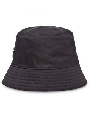 Klasyczny czarny kapelusz bawełniany Prada