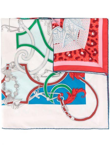 Белый шелковый платок винтажный Hermes