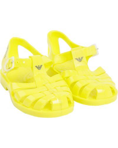 Желтые пляжные сандалии Armani Junior