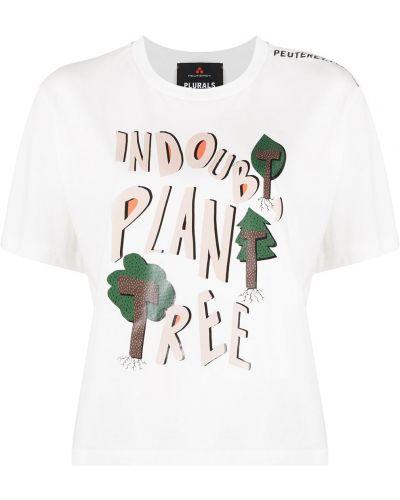 Белая футболка с надписью с вырезом Peuterey