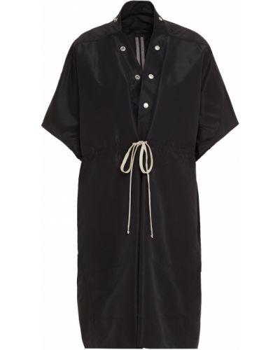 Текстильное черное пальто с карманами Rick Owens