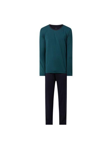 Piżama w paski - zielona Schiesser