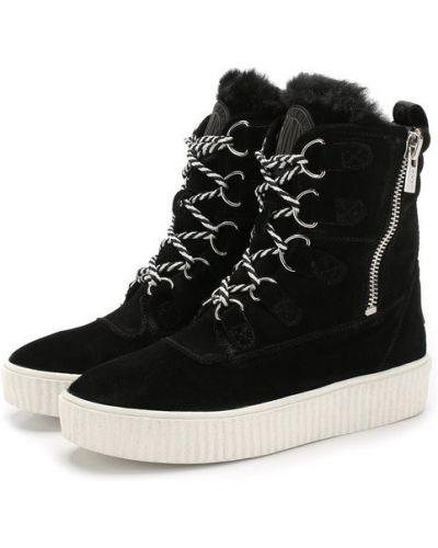 Ботинки на шнуровке кожаные замшевые Dkny
