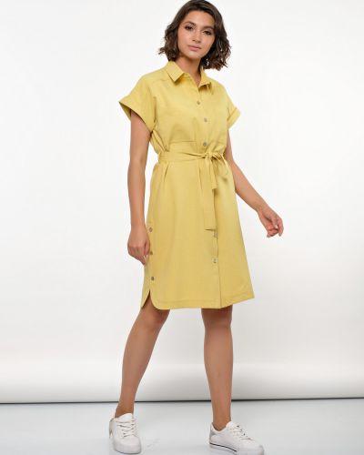 Прямое летнее платье на пуговицах сафари с воротником Jetty
