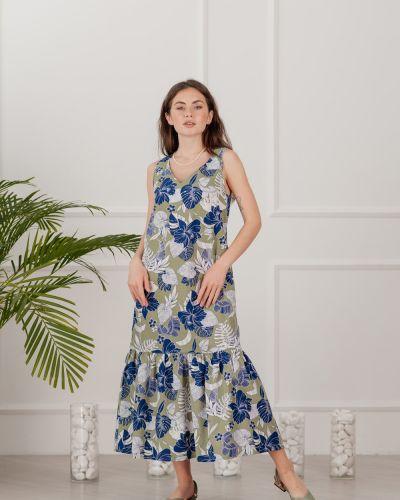 Платье с завязками хаки Azuri