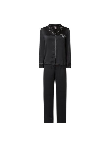 Czarna spodni piżama z długimi rękawami z jedwabiu Lauren Ralph Lauren
