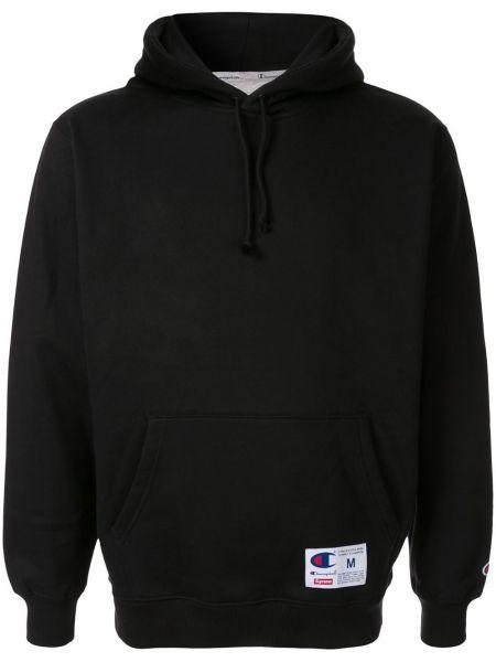 Czarna bluza długa z kapturem z długimi rękawami Supreme